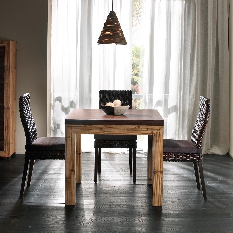 Table salle  manger avec rallonge dpliante en bambou et bois exotique bicolore miel antique
