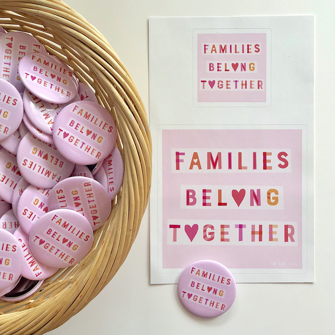 Families Belong Together buttons