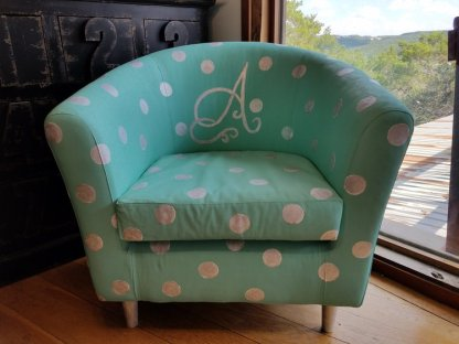 Hand Painted Monogram Polka Dot Club Chair