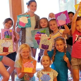 Cupcake Glitter Painting Party
