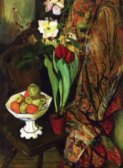 Still Life with Tulips and Fruit Bowl