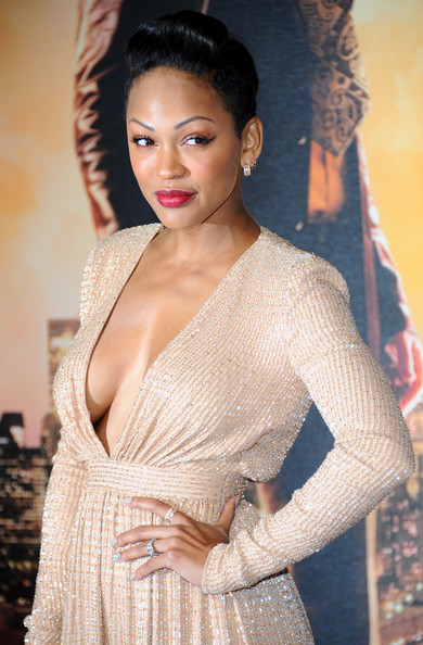 Meagan Good at Anchorman 2: The Legend Continues Premiere in Ralph & Russo Gold Gown