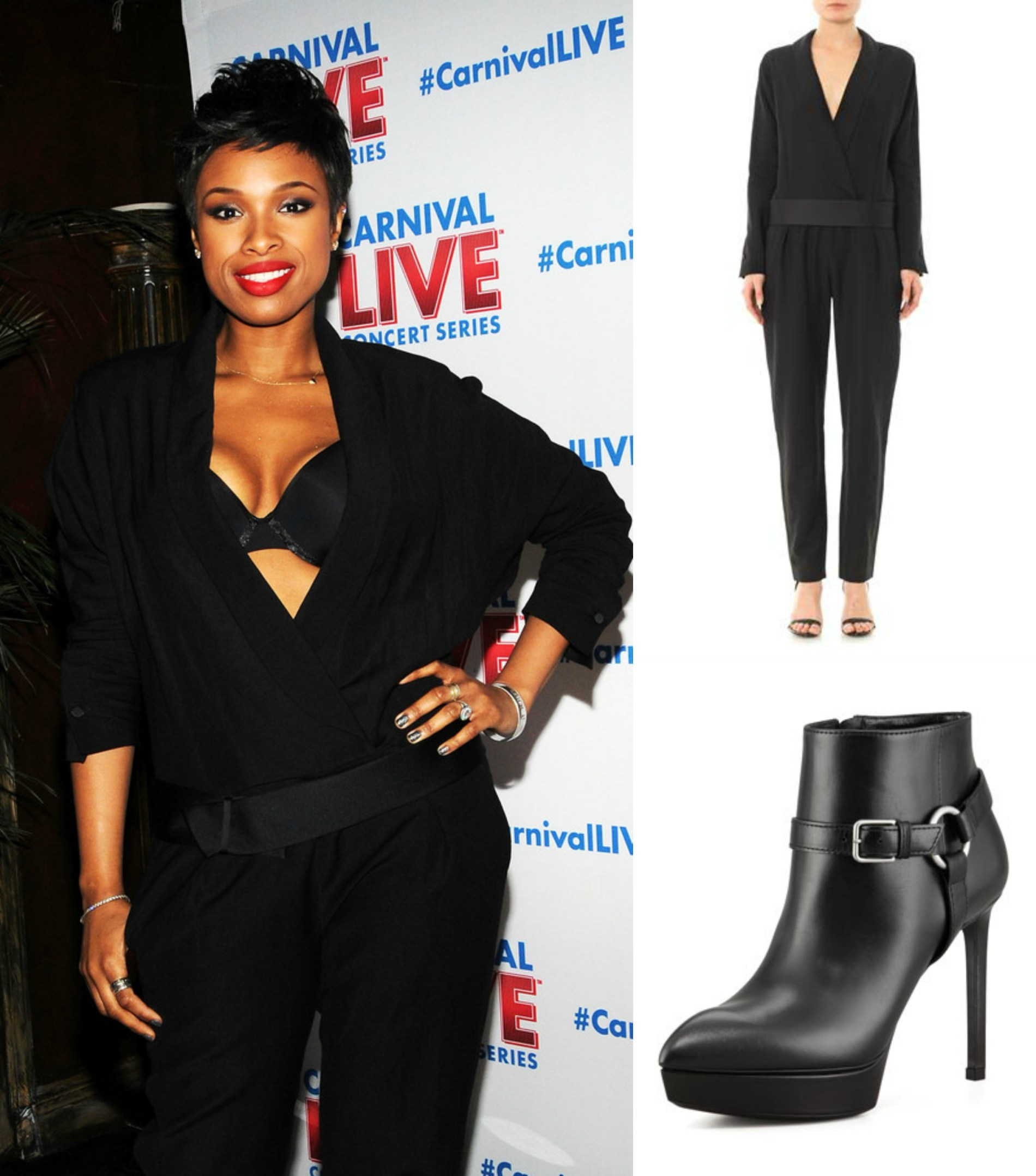 Hot or Not: Jennifer Hudson's Isabel Marant Black Ofira Jumpsuit And Saint Laurent Platform Harness Booties