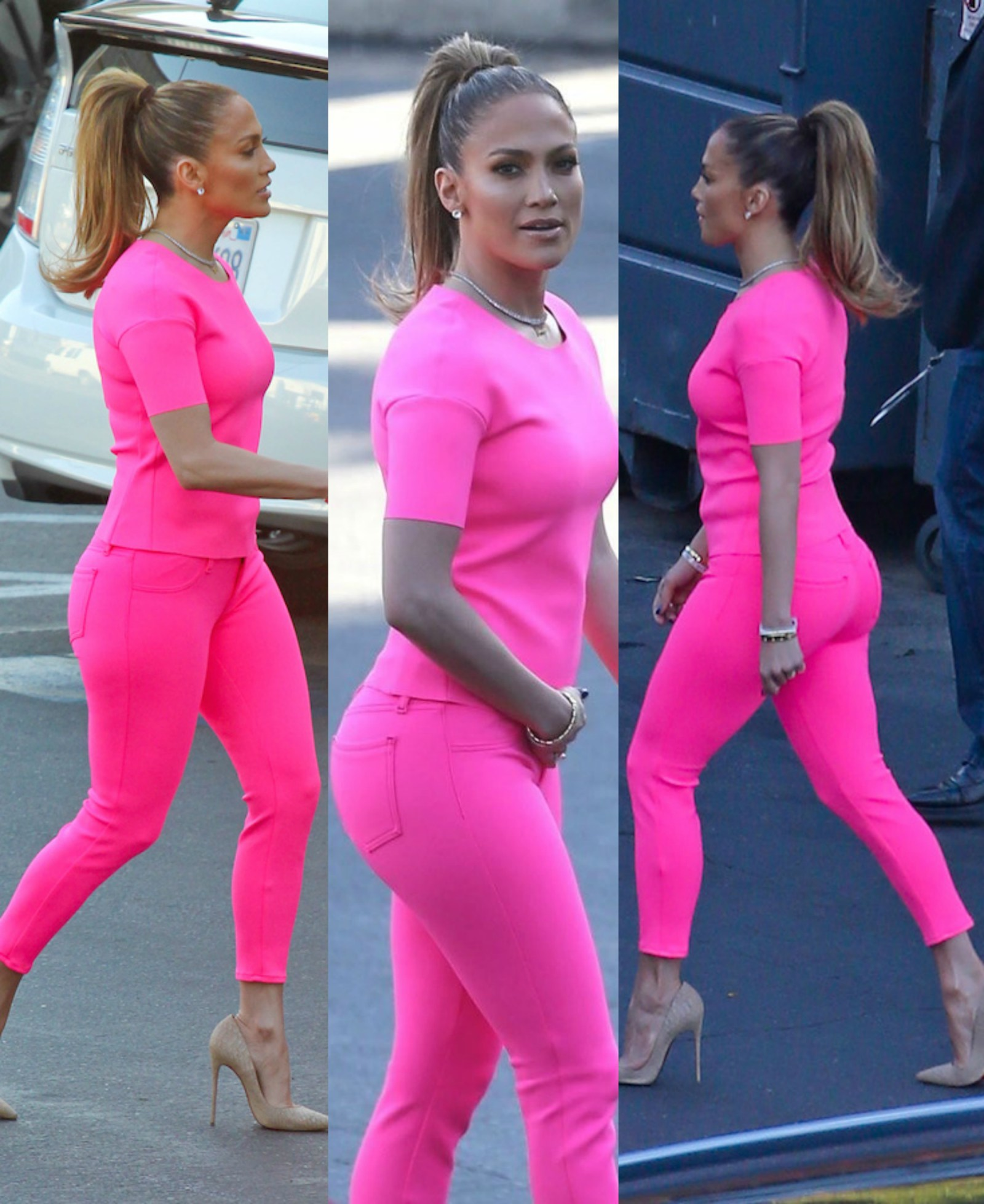 Jennifer Lopez At American Idol Taping in Hot Wildflower Pink Jeans and J Brand Neoprene Matching Top