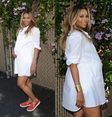 Ciara's White Shirt Cress and Prada Red Slip-On Sneakers At The Safe Kids Day Event