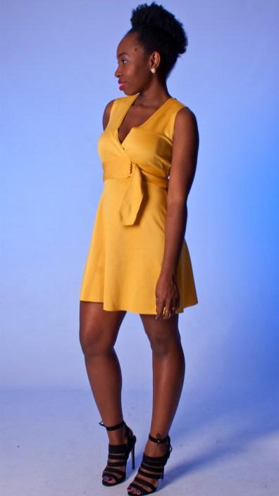 Yellow Neoprene Buckle Dress
