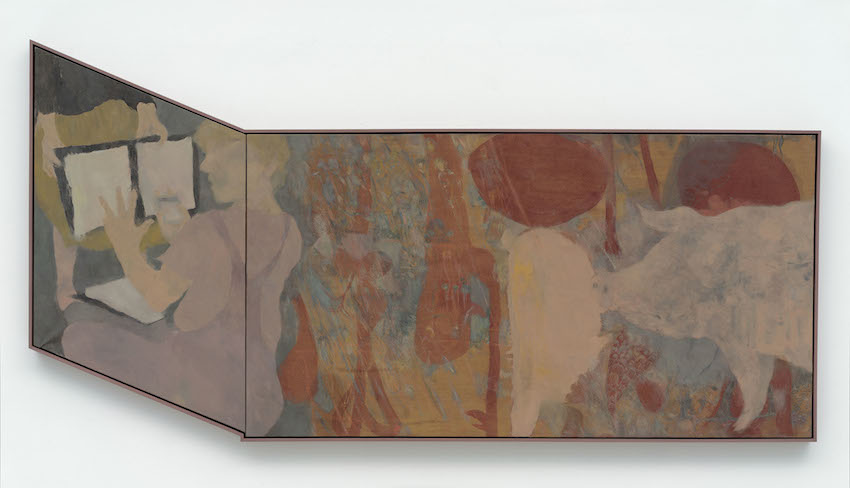 """Kai Althoff """"Untitled"""", 2014 Oil, enamel, oil crayon and linseed oil on linen, 119 x 242 cm"""