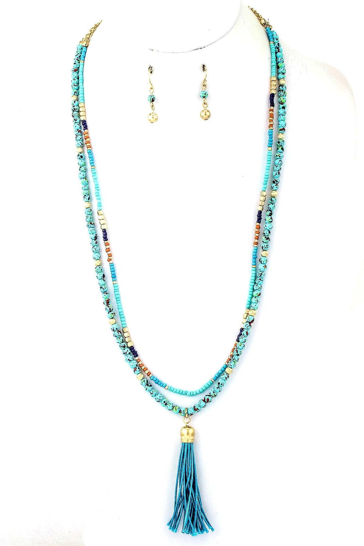 stone seed bead tassel drop earrings