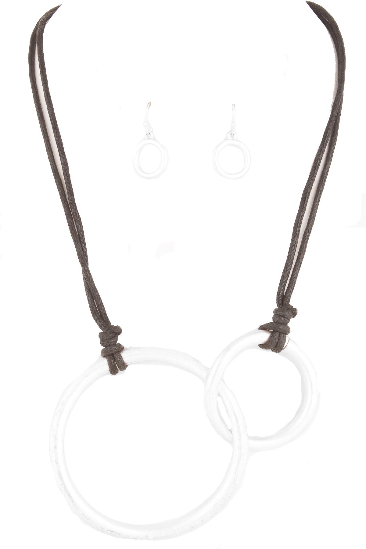 Linked Circle Cutout Wax Cord Necklace Set