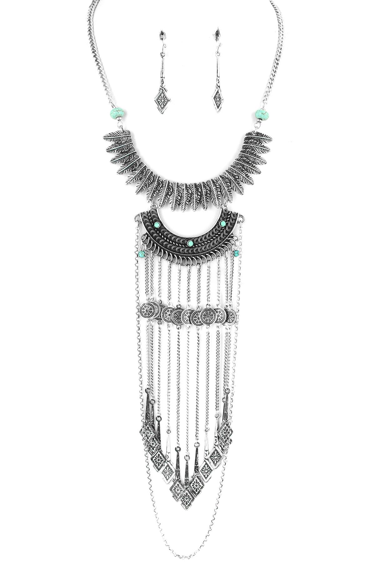 Metal Feather Bib Fringe Necklace