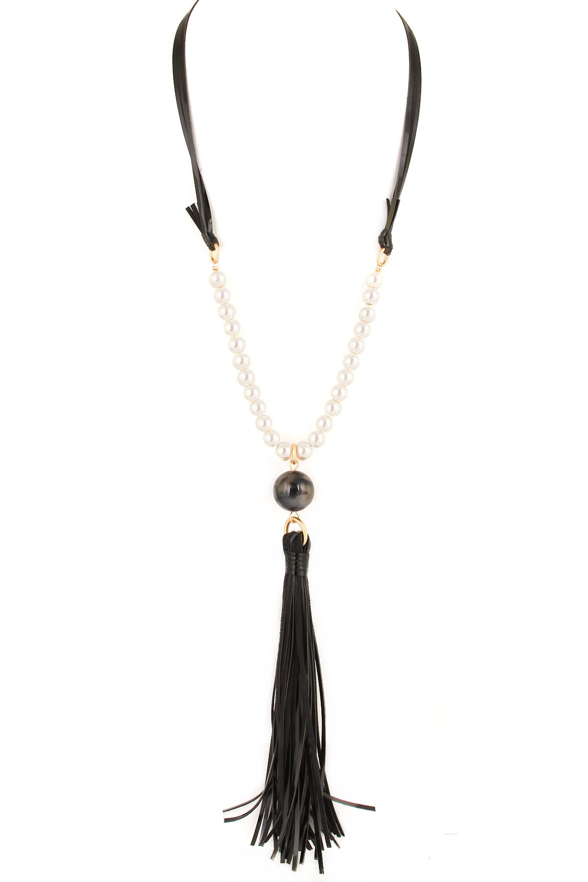 Multi Strand Leather Tassel Necklace