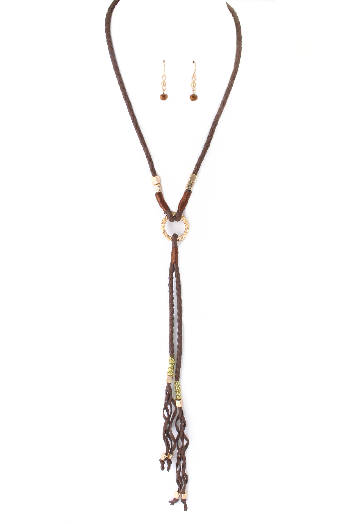 Faux Leather Y Necklace Set
