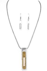 Metal Bar Pendant Necklace Set - Necklaces