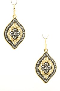 Pave Filigree Drop Earrings