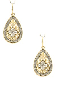 Pave Teardrop Filigree Drop Earrings