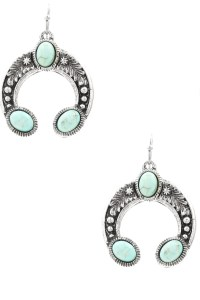 Stone Concho Drop Earrings