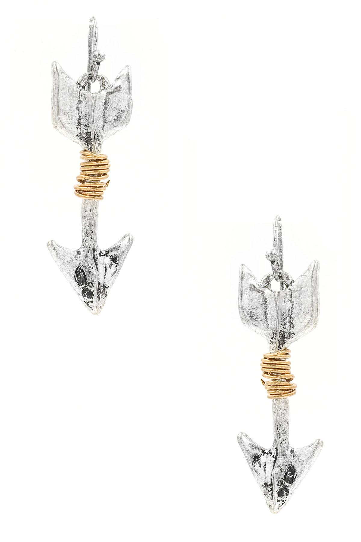Coiled Metal Arrow Drop Earrings