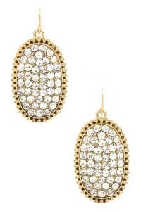 Oval Rhinestone Embedded Drop Earrings