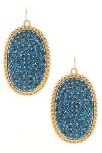 Oval Rhinestone Drop Earrings