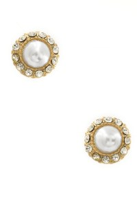 Rhinestone Embedded Pearl Earrings