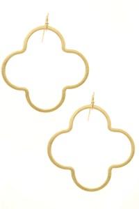 Metal Quatrefoil Drop Earrings