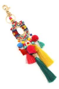 Metal Ring Cotton Pom Pom Tassel Key Chain - Key Chains