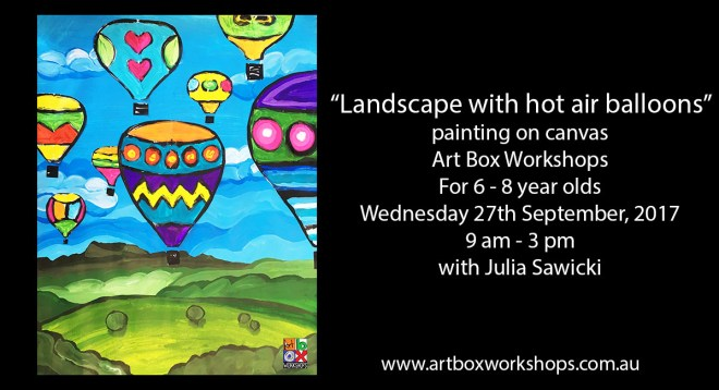 landscape painting with hot air balloons @artboxworkshops