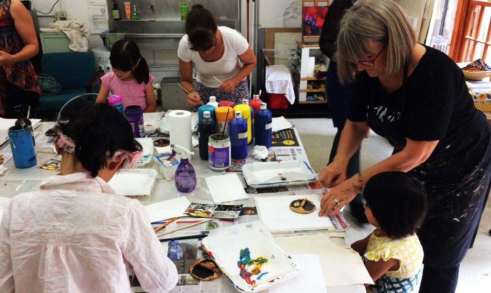 Basia Zielinska running an Art Box Workshop for local councils