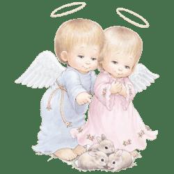 ANGEL COUPLE WITH THREE BUNNIES