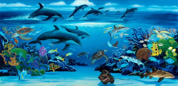 Robert Wyland Dolphins Painting