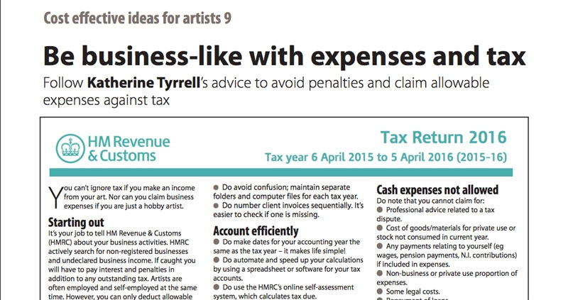 Tax Tips For Artists Art Business Info For Artists
