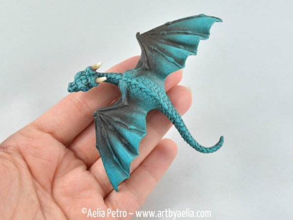 Baby Dragon Barrette Black and Turquoise Dragon PreOrder