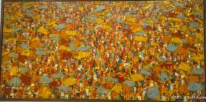 MARKET SCENE: Ablade Glover, oil on canvas,1993, 152 x 36 cm