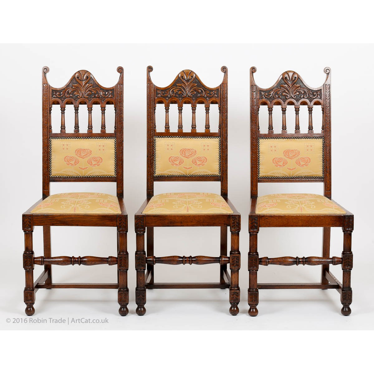 high back oak dining chairs french wingback chair antique art deco set of 6 carved
