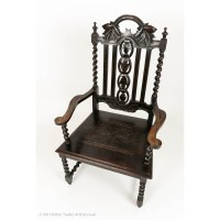 Antique Victorian Carved Throne Chair with Barley Twist ...
