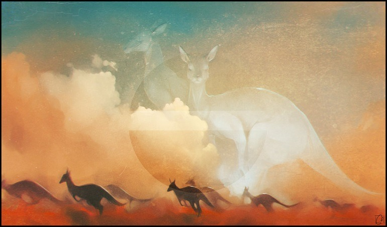 Image- It borrows from Australian myth about the origine of animals. In the digital art are several Kangaroos with two giant white ones behind them. Alexandra Khitrova , Kangaroo 2014.