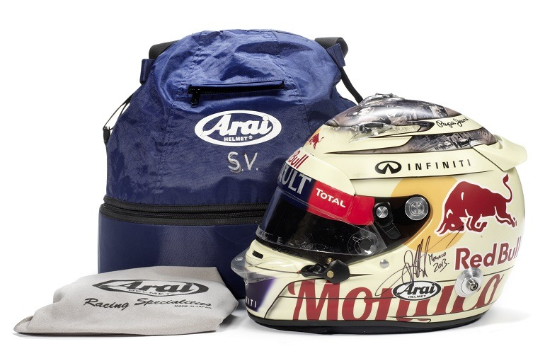 Image- A signed Sebastian Vettel helmet by Arai, used during the race weekend at the Monaco Grand Prix, Monte-Carlo, 2013 will delight many collectors of racing gears