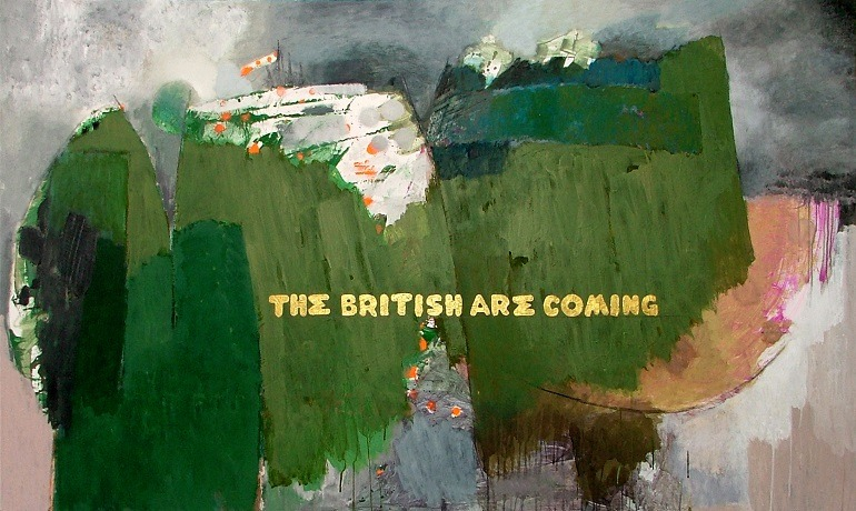 Image-Hamdi Attia, The British Are Coming 2010, Mixed Media on Panel 122 x 205 cm. This artwork asks when did Paul Revere say the British are coming. It references Paul Revere's ride the redcoats of the British. British are coming myth continues till today
