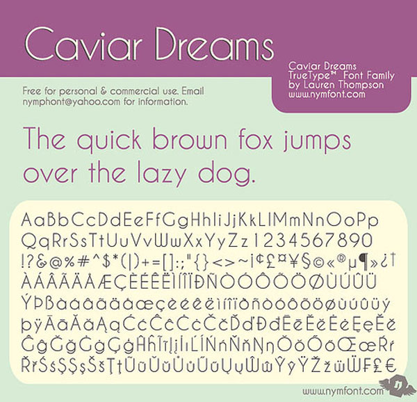 Caviar Dreams Free for Commercial use Font
