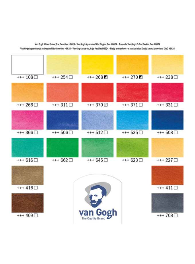 Van-Gogh-Talens-Water-Colour-Set-Wooden-Box-24-Pans-Colour-Chart-Art&Colour