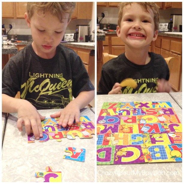 Putting together a alphabet puzzle