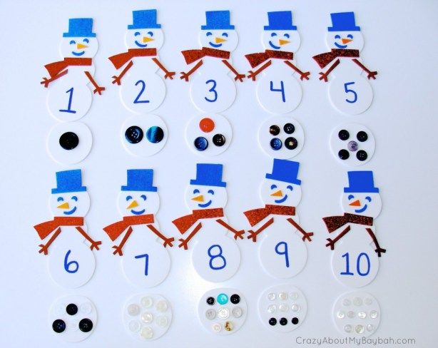 Snowman Counting and Matching -  25 Winter and Christmas Crafts for Kids #Toddlers #Preschoolers #Homeschool