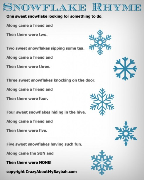 25 Winter and Christmas Crafts for Kids Felt Board Snowflake Rhyme #Toddlers #Preschoolers #Homeschool