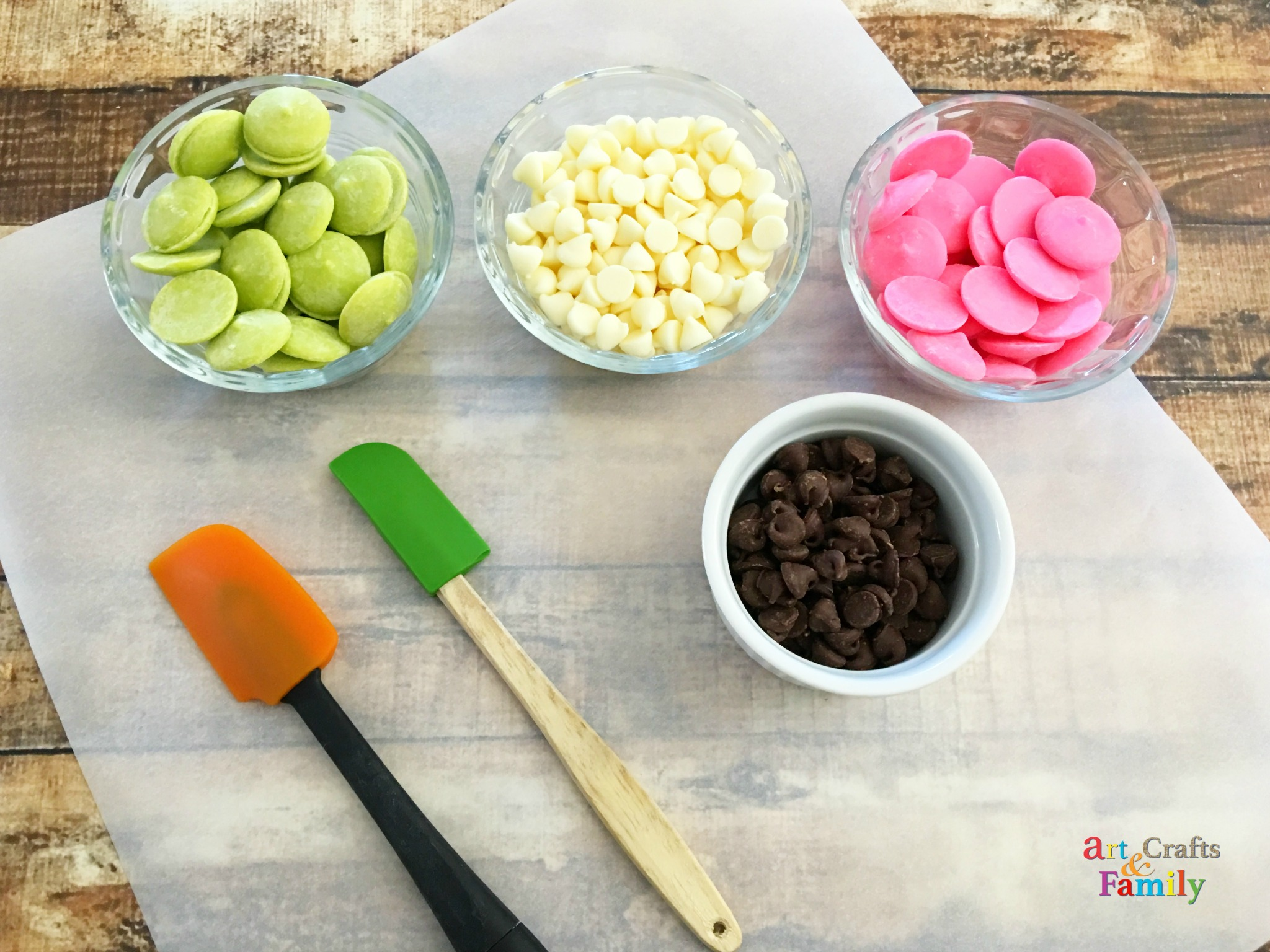 Ingredients for adorable and yummy watermelon bark candy.