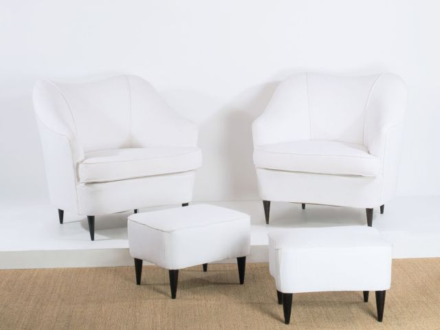 gio ponti 1891 1979 paire de fauteuils et leur ottoman 1938 pietement