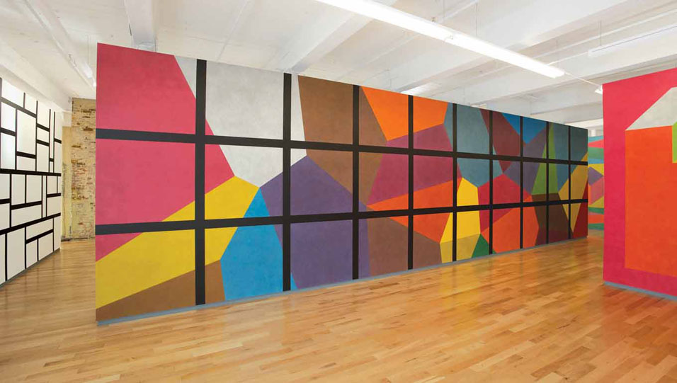 Sol LeWitt, wall drawings, the historic exhibition opens to the public at MASS MoCA (Massachusetts Museum of Contemporary Art), in North Adams, Massachusetts.