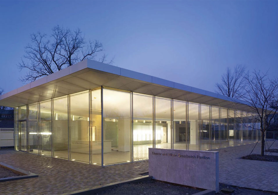 Toshiko Mori's Visitor Pavilion is Newest Addition to Frank Lloyd Wright's Historic Martin House Complex. Image from ArtDaily.com
