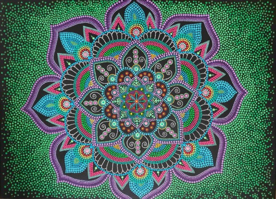 Purple Blue and Green Dot Mandala (Sold) - Art&Deco By Natasha