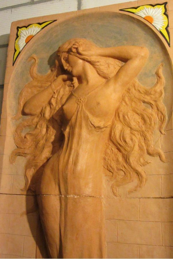 Ceramic Art Nouveau Lady seminude