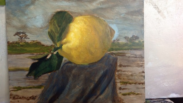 """Wandering between lemon trees"" 8 x 10 inches"